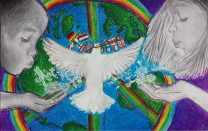 Mia Portner, 1st place, WCI, 7th grade, wishing for peace